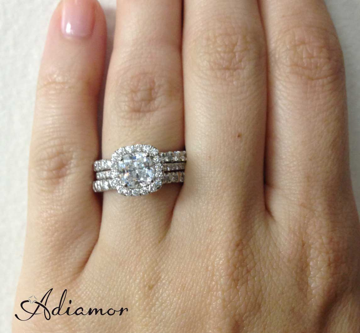 how do people wear wedding bands wedding band curved Cushion Halo Ring with Mismatched Stacked Bands
