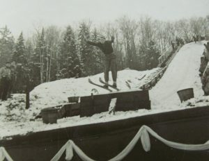 Ski Jumper at the Lake Placid Club c 1920 (Lake Placid Library)