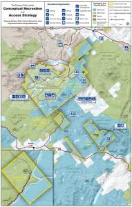 The map shows DEC's recommendations for managing the Essex Chain, Indian River, and OK Slip Falls tracts. The region shaded in blue north of Route 28 would become the Hudson Gorge Wilderness Area. Map courtesy of NYSDEC