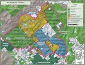 The Adirondack Council  proposes consolidating existing Forest Preserve and former Finch, Pruyn lands into a Wild Rivers Wilderness, outlined in pink. Courtesy of Adirondack Council.