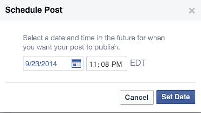 Facebook changes way to schedule posts