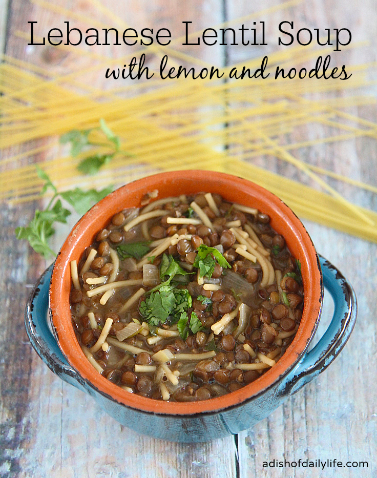 Delicious and healthy, this Lebanese Lentil Soup with Lemon and Noodles is easy-to-make and inexpensive too! #BudgetMeals