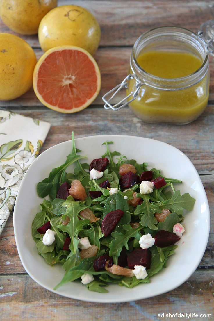 A delicious combination of Florida grapefruit, beets, and goat cheese over a bed of arugula, tossed with a tart but sweet grapefruit vinaigrette