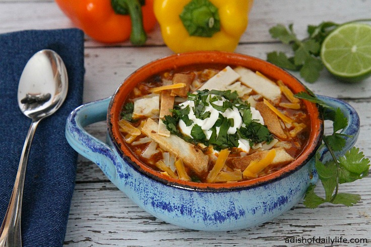 Delicious Fiesta Chicken Enchilada Soup ~ One Pot, 30 Minutes