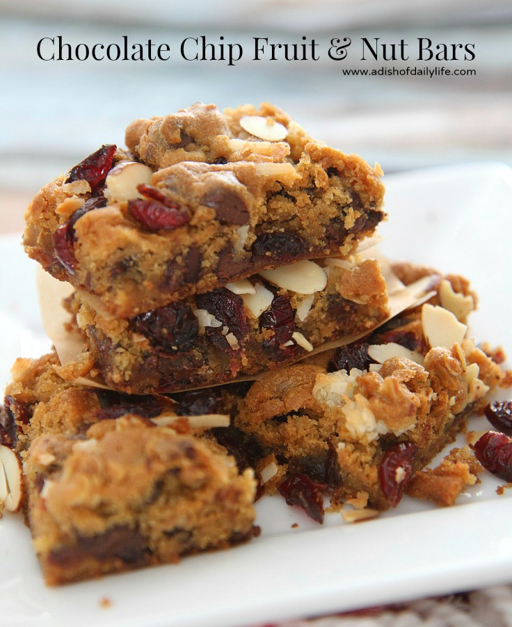 Chocolate Chip Fruit and Nut bars...less than 10 minutes to assemble and 30 minutes to bake! Quick and easy treat for spring.