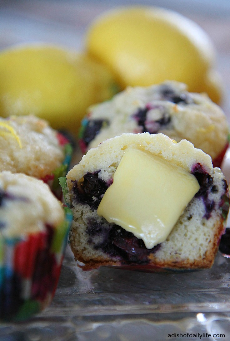 Glazed Lemon Blueberry Muffins with gourmet butter