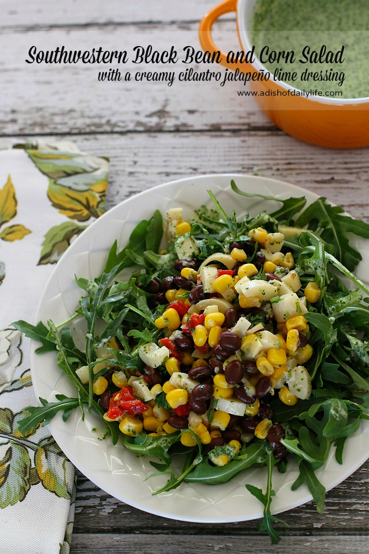 This Southwestern Black Bean Corn Salad with a creamy cilantro jalapeño lime dressing is perfect for lunch, a light dinner and even to add to your Cinco de Mayo menu! Serve over arugula or your favorite salad greens.