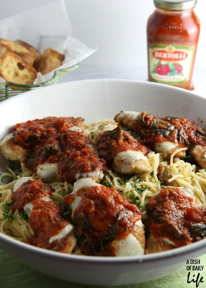 Chicken Parmesan Tenderloins with Bertolli® Tomato and Basil Sauce over Roasted Garlic Spaghetti
