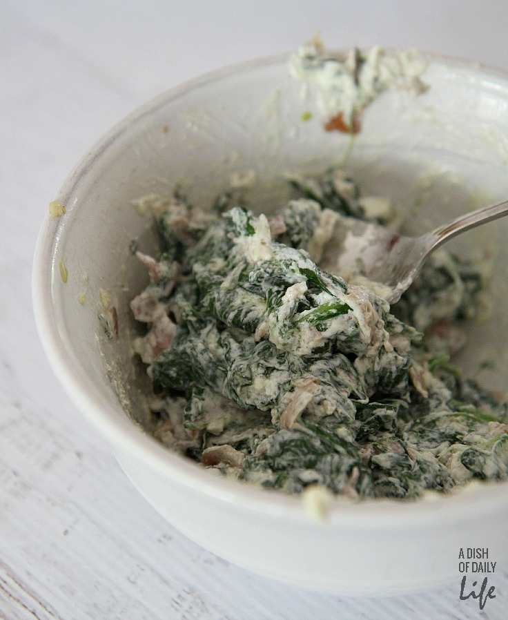 Goat cheese, spinach and proscuitto mixture
