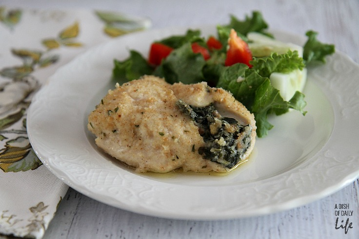Stuffed chicken breast with goat cheese, spinach and proscuitto