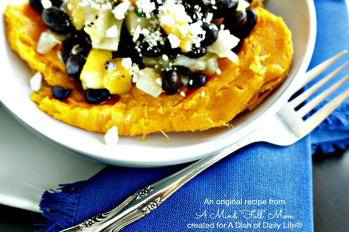 Black Bean and Fruit Salsa Stuffed Sweet Potato