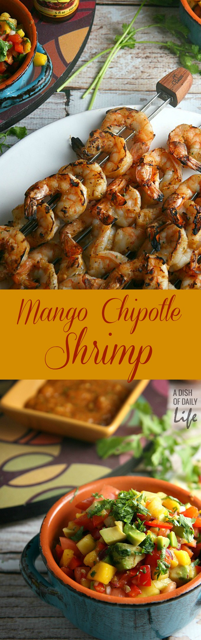 Mango Chipotle Shrimp Recipe...sweet mango paired with smoky chipotle makes for a barbeque sauce sensation! Perfect for dinner on the patio or a summer party, this grilling recipe takes just over 30 minutes from start to finish.