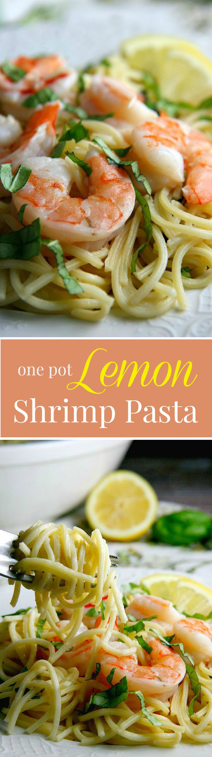 One Pot Lemon Shrimp Pasta...15 minutes, easy and SO delicious! Perfect dinner recipe for busy families!