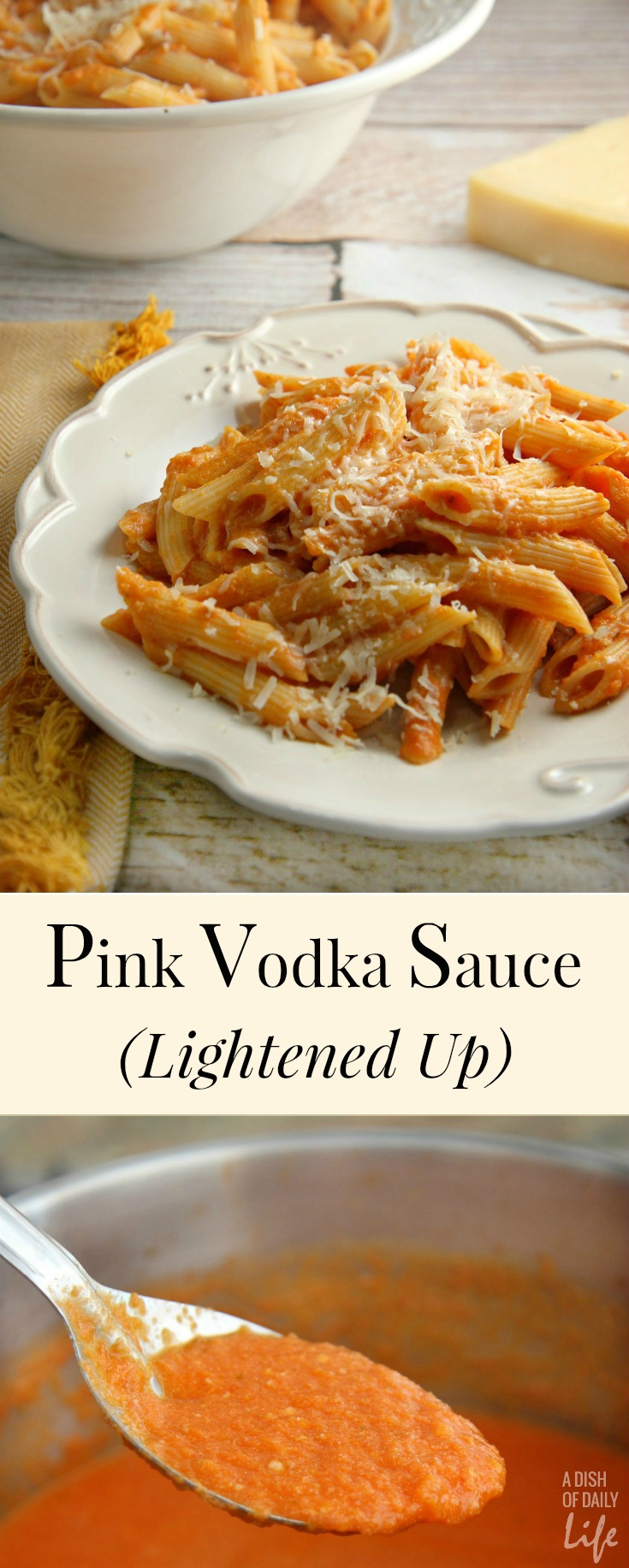 This Lightened Up Pink Vodka Sauce recipe, served over pasta, is a delicious easy meal when you need to get dinner on the table fast! It makes enough sauce for two pounds of pasta, so freeze your leftover sauce for another night. Created for Cooking for a Cure to bring awareness to Breast Cancer Awareness Month. Vegetarian.
