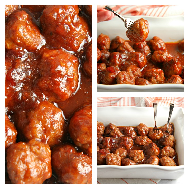Sweet Sriracha Meatballs collage