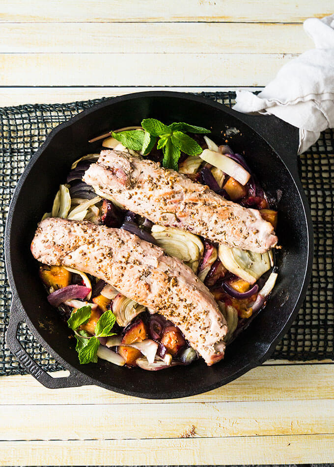 One skillet, easy pork tenderloin recipe with fennel and plums.