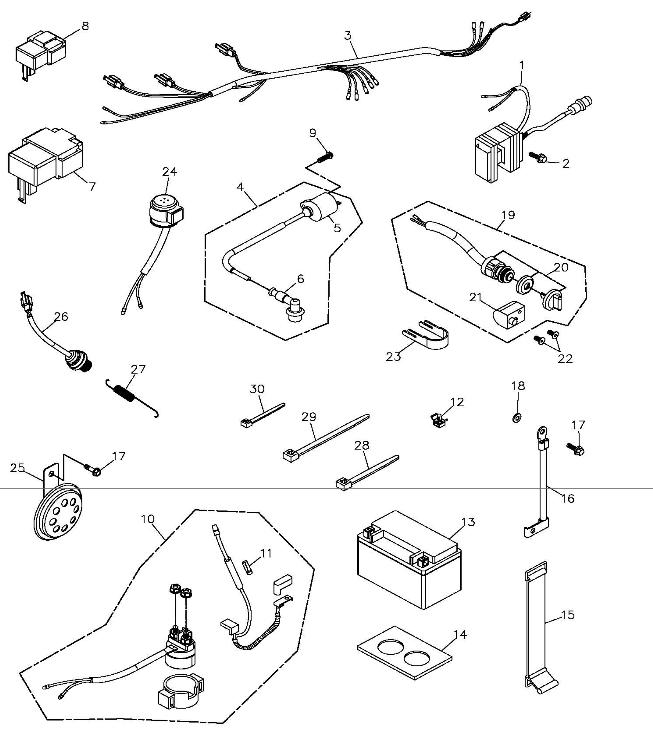 carter 150cc go kart wiring harness