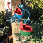 two froggies, metal art