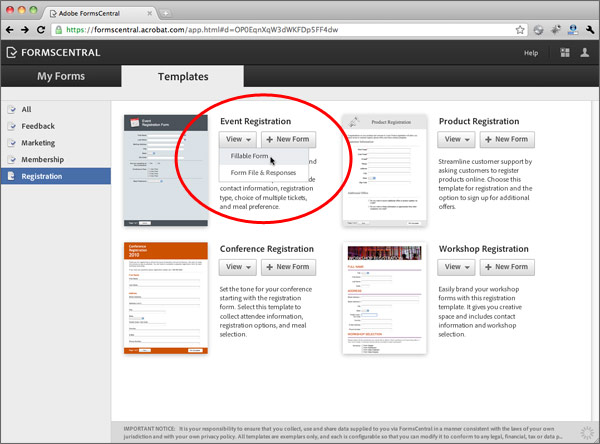 Creating a Form from a Template \u003e Using the New Adobe Forms Central