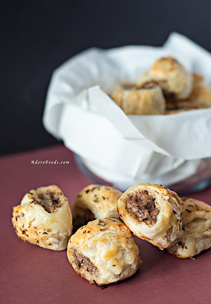 Lamb Mushroom and Oregano Sausage Rolls.