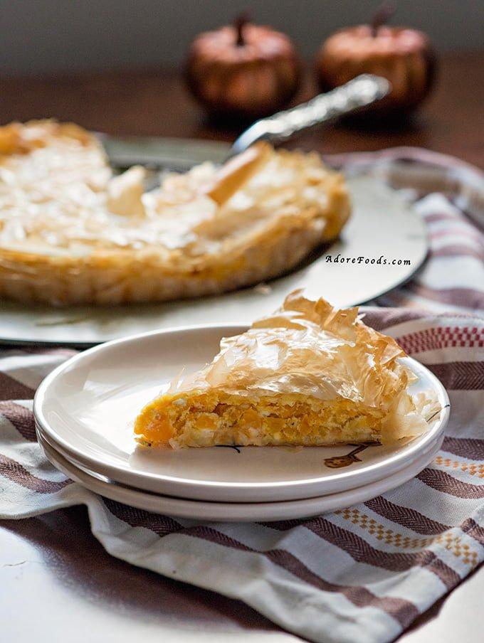 fall appetizer, Greek Pumpkin and Feta cheese pie (Kolokithopita ...