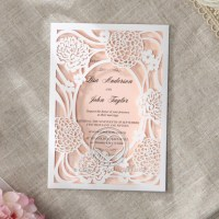Pastel Flower Invitation with Intricate Laser Cut and Window