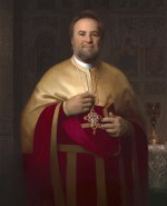 """Portrait of V. Rev. John S. Bakas, ©2012 By Adrian Gottlieb Dean, Saint Sophia Cathedral, Los Angeles Oil on linen 50""""x35"""" Commissioned by Michael Huffington: Collection of The Huffington Center of St. Sophia Cathedral"""