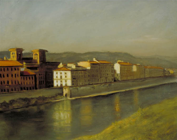 House On the Arno ©1997 By Adrian Gottlieb Oil on Linen View from over window sill Charles H. Cecil Studios SOLD Private Collection Eloise Beil, Vergennes, Vermont