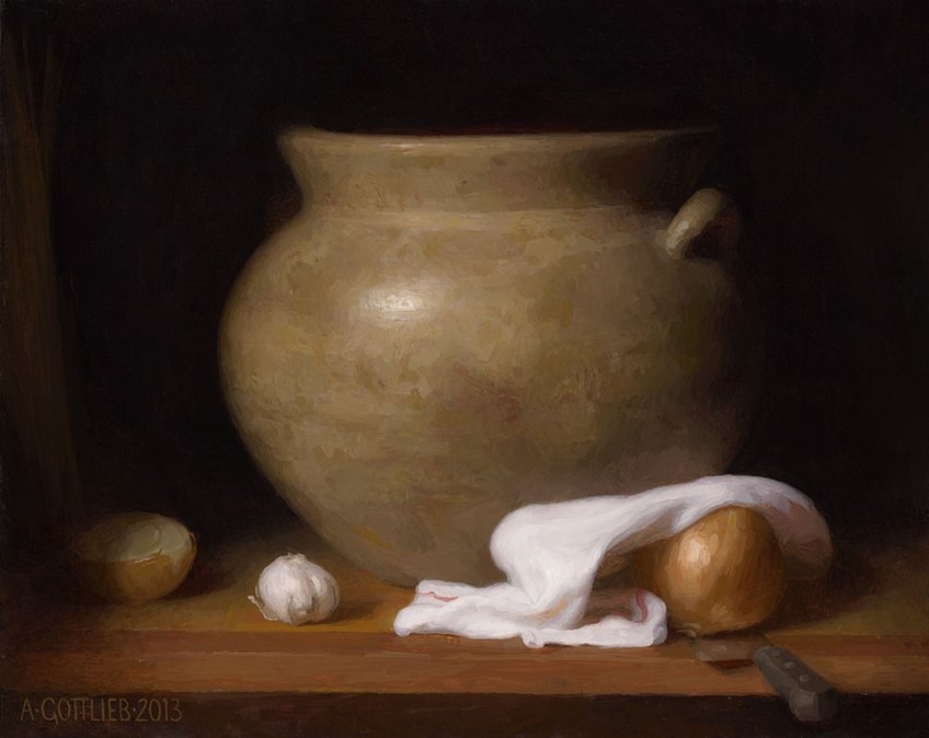 "Pot español.  20 ""x16"", © 2012 por Adrian Gottlieb.  Óleo sobre lino."
