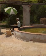 """Kate by the Fountain, ©2014 By Adrian Gottlieb Oil on Belgian Linen Size: 14""""x11"""".  Collection of Jamie and Gary Storm."""