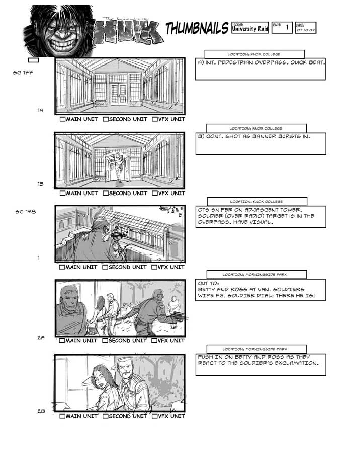 The Incredible Hulk Movie Storyboard Artist, Adrien Van Viersen