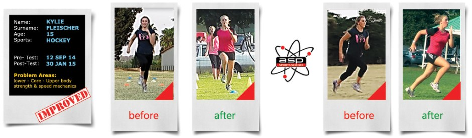 Hockey - Kylie Fleischer Sports Science Fitness Assessment - before and after