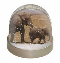 Elephant and Baby Tuskers Photo Snow Globe Waterball ...