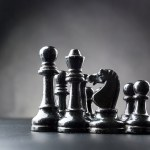 stock-schaak-schaakbord-schaken-pionnen