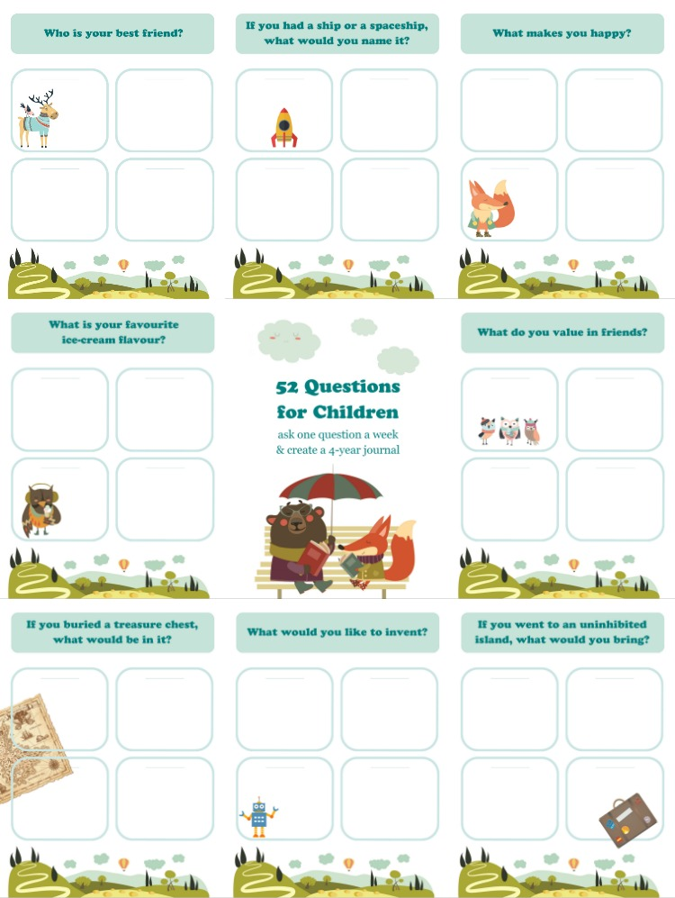 52 Questions to Ask Children Free Printable QA Journal Adventure - would 4 free