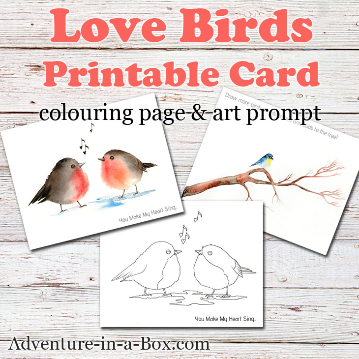 Birds Free Printable Card, Colouring Page  Drawing Prompt