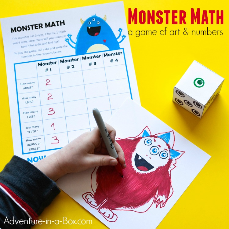 Monster Math Printable Game of Art and Numbers for Kids Adventure