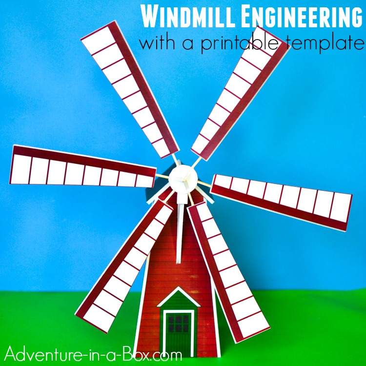 Windmill Model Printable Template Adventure in a Box