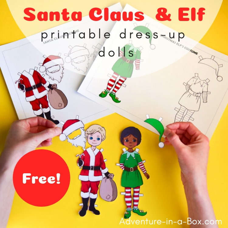 Santa Claus  Elf Dress-Up Dolls Free Printable Template