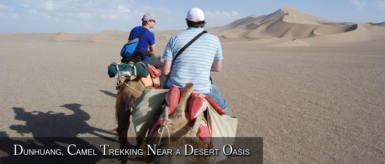 Dunhuang, Camel Trekking Near a Desert Oasis