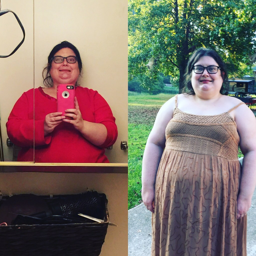 The one of me in the red is me today. The one of me in the dress is when I reached my all time highest weight of 330.