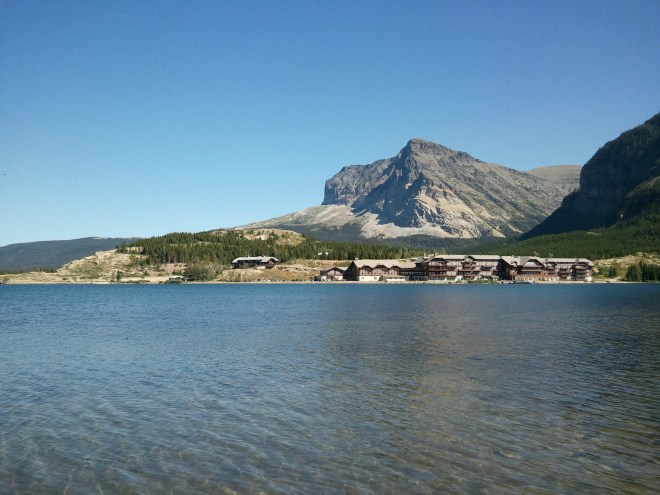 Swiftcurrent Lake and the Many Glacier Hotel from the opposite side of the lake.