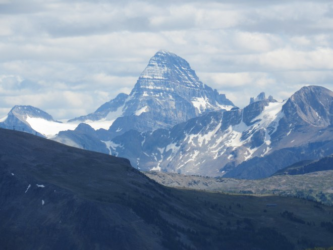 Mount Assiniboini was finally out of the clouds! Photo looks S from Harvey Pass using the telephoto lens.