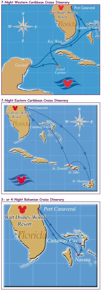 Disney Cruise Sample Itinerary Maps - OLP Travel - News  Views