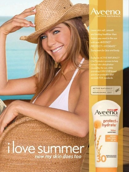 jennifer anniston for aveeno