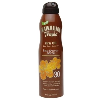 hawaiian tropic dry oil clear spray sunscreen