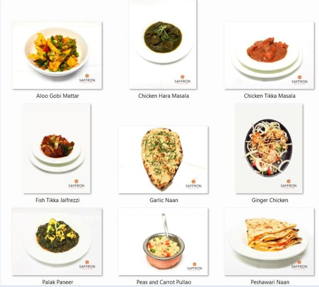 some of the dishes served at Saffron Restaurant
