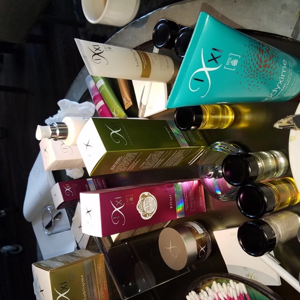 a photo I took of some of the actual Ixxi Cosmetics skincare products at the editor's launch