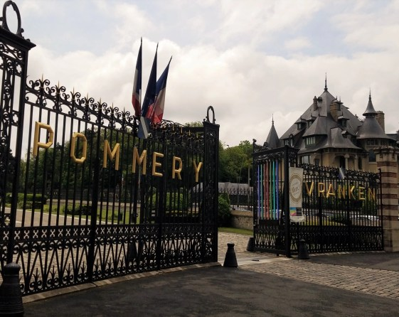 you really feel as though you'r entering a castle as you walk through the massive gates of of Maison Pommery, Champagne Houses