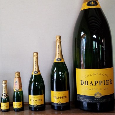 a selection of champagne bottle sizes from Champagne Drappier Champagne Houses